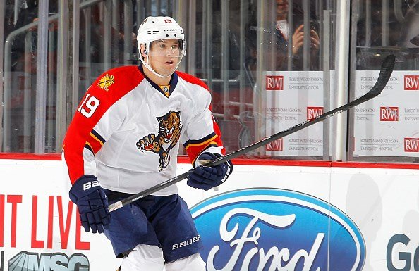 NEWARK, NJ - JANUARY 31: Scottie Upshall #19 of the Florida Panthers in action against the New Jersey Devils at the Prudential Center on January 31, 2015 in Newark, New Jersey. The Devils defeated the Panthers 3-1. (Photo by Jim McIsaac/Getty Images)