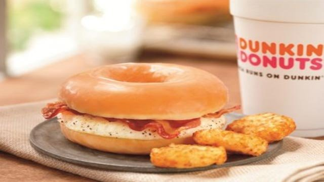According to Dunkin' Donuts, starting Friday, Dunkin' Donuts customers can eat a breakfast sandwich served on a glazed donut. (Credit: Dunkin' Donuts)