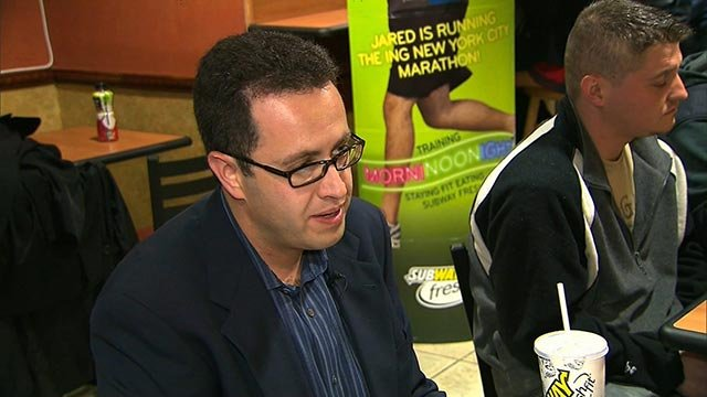 Jared Fogle, the long-time Subway spokesperson, speaks with guests inside a Subway restaurant. (Credit: CNN)