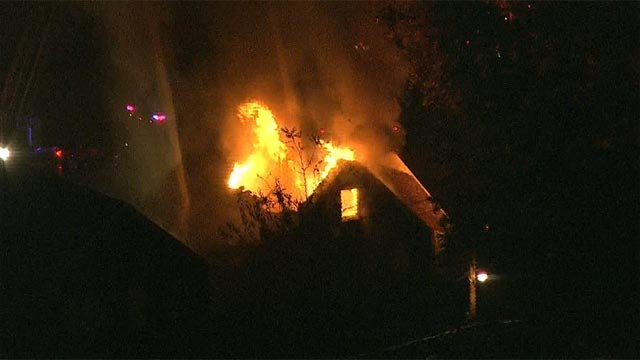 A two-story brick dwelling in the 6100 block of North Pointe caught fire shortly after 5:30 a.m.