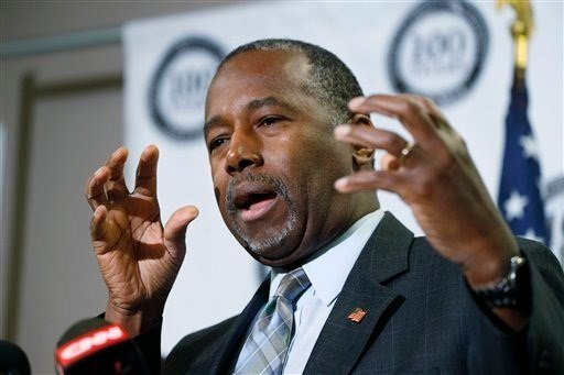 Republican presidential candidate Ben Carson gestures during a news conference during a campaign stop, Thursday, Oct. 29, 2015, in Lakewood, Colo. (AP Photo/David Zalubowski)