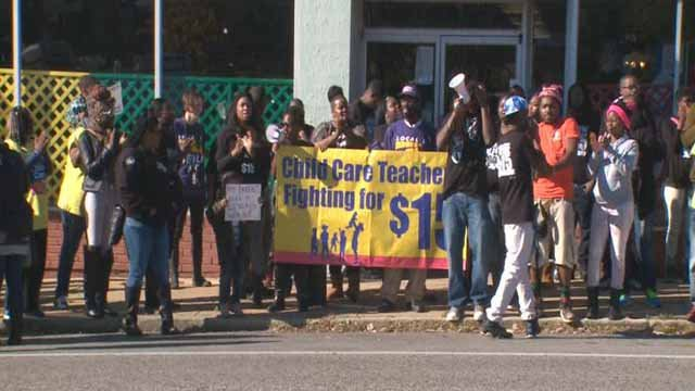 Workers protesting to get a rise in the minimum wage in St. Louis in 2015 (Credit: KMOV)