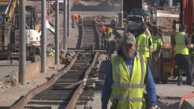 Crews working on the Loop Trolley track in November (Credit: KMOV)