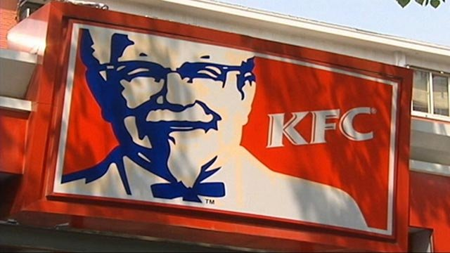 Image of Kentucky Fried Chicken (KFC) sign on the restautrant. KFC is owned by American fast food company Yum Brands (Credit: CNN)