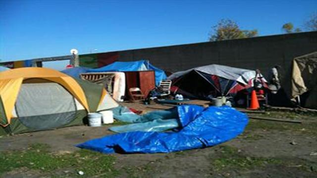 """A St. Louis homeless camp known as """"Hopeville."""""""