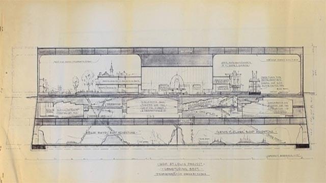 "An original blueprint for ""Walt Disney's Riverfront Square"" (Credit: invaluable.com)"