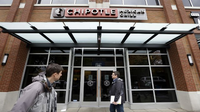 In this Nov. 9, 2015, file photo, pedestrians walk past a still-closed Chipotle restaurant in Seattle. (AP Photo/Elaine Thompson)