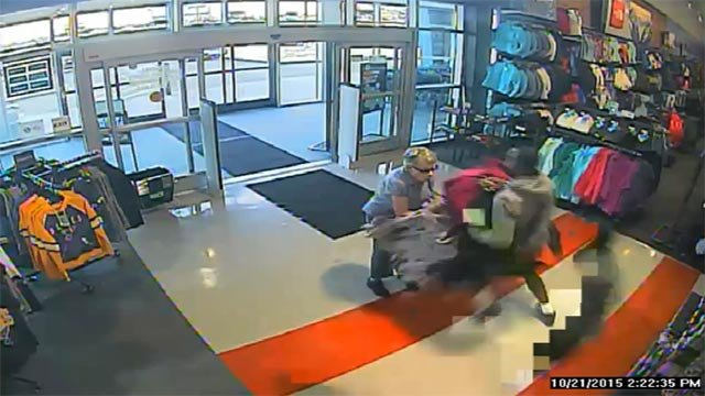 The St. Louis County Police Department released surveillance video showing an elderly nun being knocked over by robbery suspects