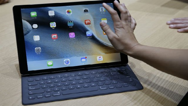 The new iPad Pro is seen with a Smart Keyboard during a product display following an Apple event Wednesday, Sept. 9, 2015, in San Francisco. (AP Photo/Eric Risberg)
