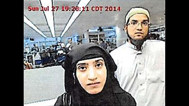 Tashfeen Malik and Syed Rizwan Farook were photographed at O'Hare Airport in 2014. (Credit: Chicago O'Hare Airport)