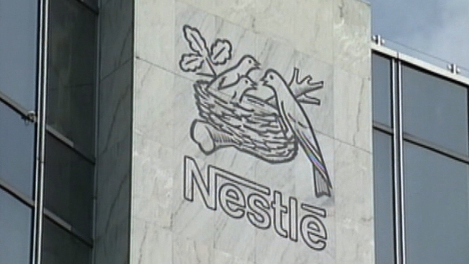 A framegrab of the Nestle sign at their office in Switzerland. (Credit: CNN)