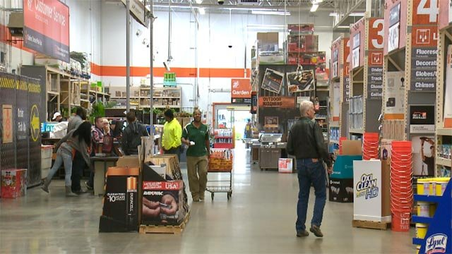 Shoppers at Home Depot on Christmas Eve 2015