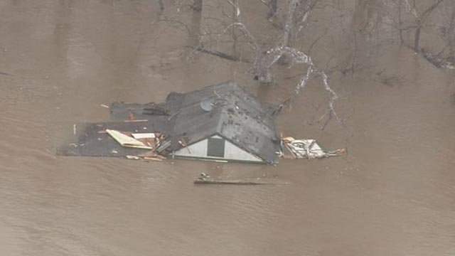 A home was seen floating in the Meramec River Wednesday