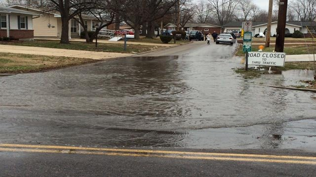 Flood waters in the City of Arnold Wednesday
