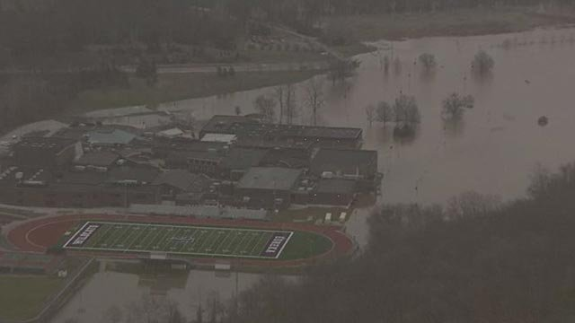 Flooding near Eureka High School.