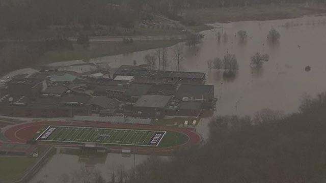 Flooding near Eureka High School in Missouri.