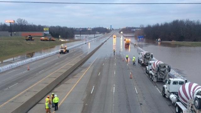 A photo taken of I-55 at Meramec Bottom Road on Thursday morning