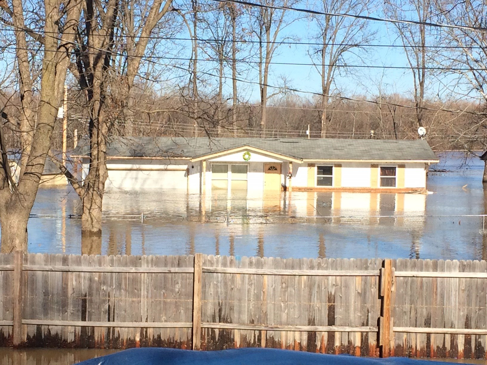 An Arnold house flooded by the Meremac River.