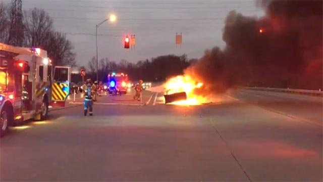 News 4's Justin Andrew was on the scene when a vehicle caught fire on Route 30 in Jefferson County.