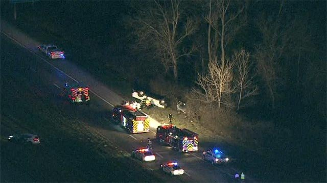 Skyzoom 4 was over the crash scene at Route 61 south of Highway A around 6:50 a.m. and captured footage of a white truck on its roof and another vehicle in the grass nearby.