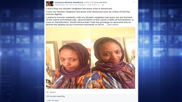 Larycia Hawkins, a professor at Wheaton College, caused a stir last month when she donned a Muslim head covering at the Christian school. (Credit: Facebook)