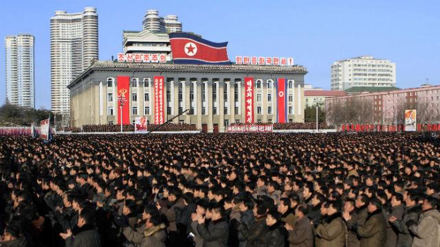 North Koreans gather at Kim Il Sung Square, following their leader Kim Jong Un's new year address in Pyongyang, North Korea, Tuesday, Jan. 5, 2016. (AP Photo/Jon Chol Jin)
