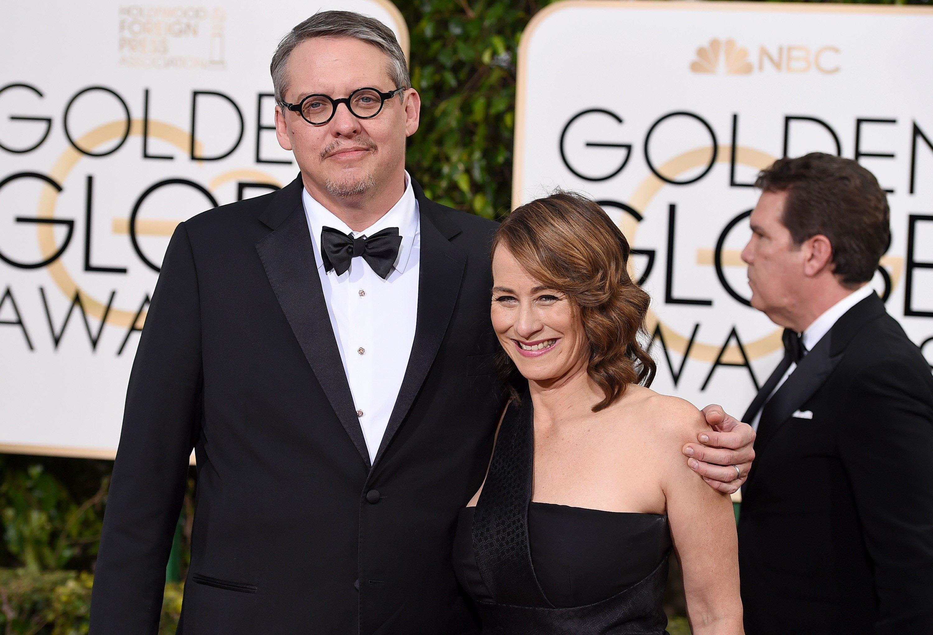 Adam McKay, left, and Shira Piven arrive at the 73rd annual Golden Globe Awards on Sunday, Jan. 10, 2016, at the Beverly Hilton Hotel in Beverly Hills, Calif. (Photo by Jordan Strauss/Invision/AP)