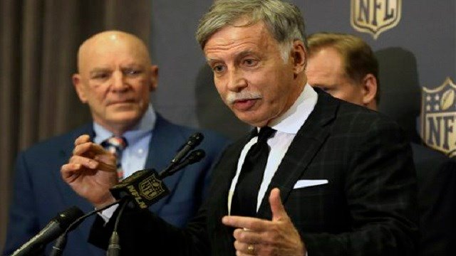 Stan Kroenke talks to the media after team owners voted Tuesday, in Houston, to allow the Rams to move to a new stadium just outside Los Angeles, and the San Diego Chargers will have an option to share the facility. AP Photo/Pat Sullivan)