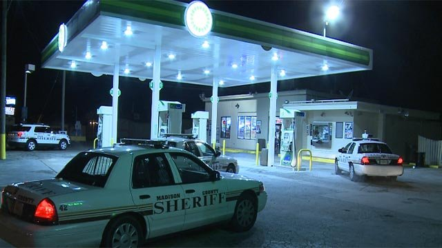 The suspect was wearing a maroon and yellow sweatshirt and a hood when he robbed the BP Gas Station in the 8400 block of Collinsville Road around 2:15 a.m.