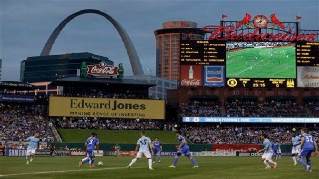 Manchester City and Chelsea play during the first half of an exhibition soccer match Thursday, May 23, 2013, at Busch Stadium in St. Louis. (AP Photo/Jeff Roberson)