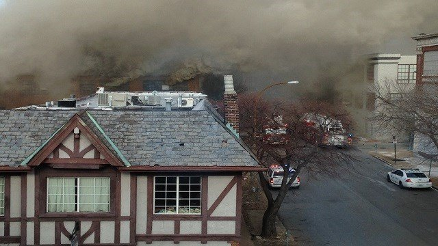 Smoke seen coming from a building fire in the 1900 block of Washington Avenue. The fire spread to 4-alarm around 2:00 Monday (Brendan Marks)
