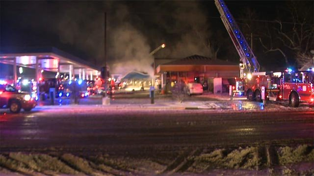 The Mobile Gas Station in the 6800 block of North Hanley caught fire around 4 a.m.