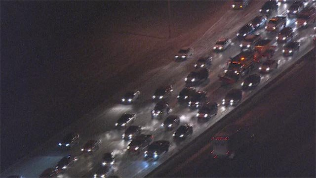 At 6 a.m., the northbound lanes of Interstate 270 near Page were at a standstill following a multi-car crash.