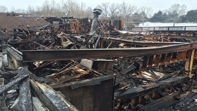 Damage from the fire.