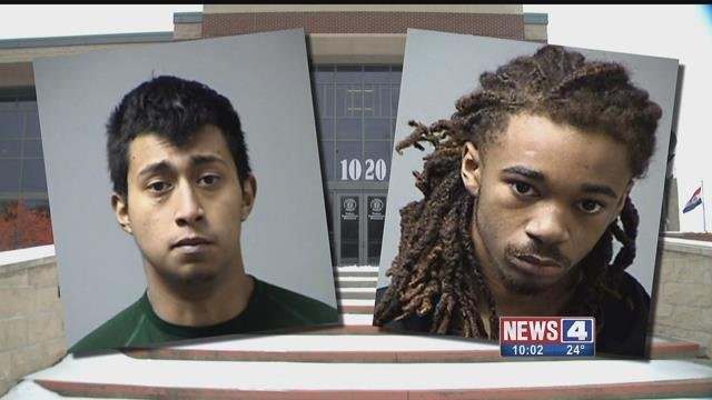 Angel Mendez, 20, and Derrick Mitchell,18, both face several counts of robbery and armed criminal action for allegedly robbing three teens with guns and machetes at a St. Peters home
