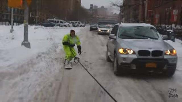 Casey Neistat snowboarded through the streets of New York City during January's snowfall (Credit: Casey Neistat)