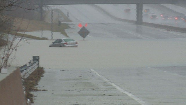 Dardenne Creek flooded I-70 during the heavy rains after Christmas last month.