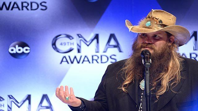 Chris Stapleton at the CMAs on Wednesday, November 4, 2015 night in Nashville, Tennessee. (Credit: ABC / CNN)