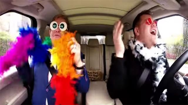 """Elton John joined """"The Late Late Show With James Corden"""" host for Carpool Karaoke (Credit: The Late Late Show with James Corden / YouTube)"""