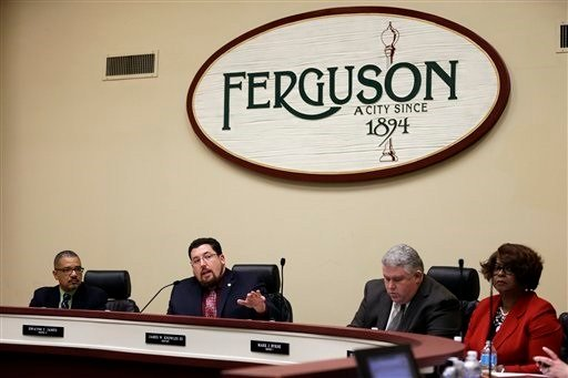 Ferguson mayor James Knowles III speaks during a city council meeting Tuesday, Feb. 2 in Ferguson. T(AP Photo/Jeff Roberson)