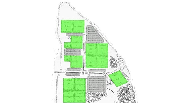 Proposed layout for the soccer complex at Creve Coeur lake Memorial Park (Credit: St. Louis County Parks)