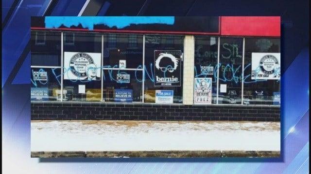 """No politics on Cherokee"" written on newly opened St. Louis headquarters for presidential candidate Senator Bernie Sanders (Credit: @crankyyellow Instagram)"