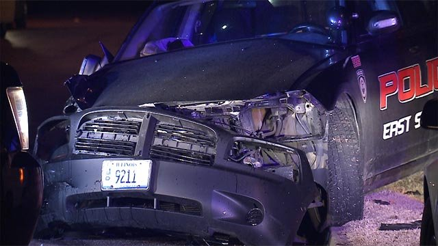 An East St. Louis police cruiser was involved in a crash Sunday night (Credit: KMOV)