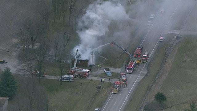 Fire crews responded to a blaze near Millstadt Monday morning (Credit: KMOV)