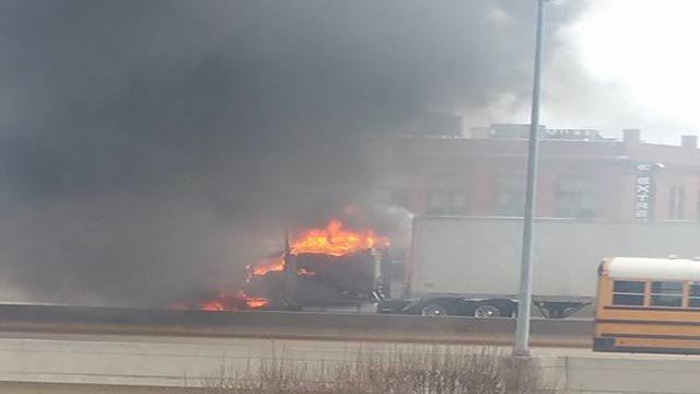 A semi-truck caught fire in the westbound lanes of I-44 near downtown Monday morning (Credit: Terrence Culton / Facebook)