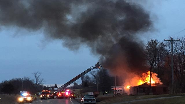 Firefighters responded after a home caught fire in Millstadt Monday morning (Credit: Viewer photo)