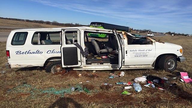 A van from the Bethalto Church of God overturned near Springfield, Mo. Sunday (Credit: Bethalto Church of God / Facebook)