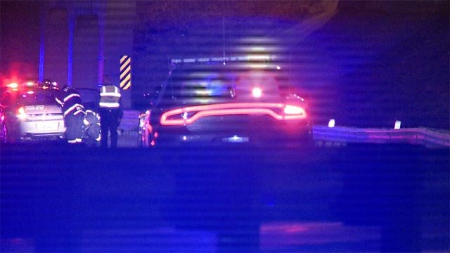 A police chase ended in a crash on Interstate 70 near Natural Bridge Road Tuesday morning (Credit: KMOV)