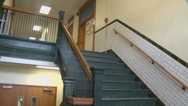 This is a stairway at Hillsboro High School. They must be isolated with fire partitions, but are not. (Credit: KMOV)