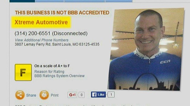 "The Better Business Bureau, BB, reports about 30 complaints against ""Extreme Automotive"" company (Credit: KMOV)."